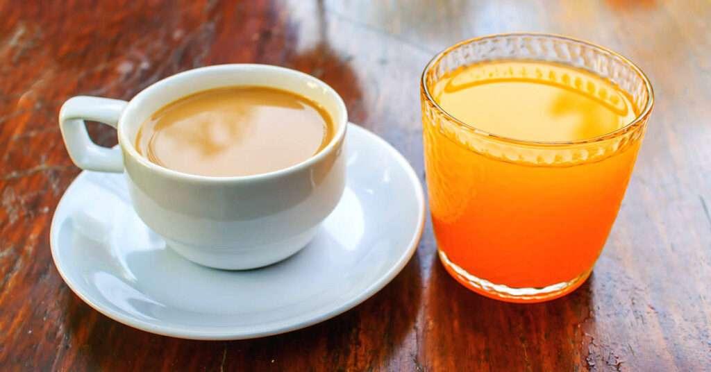 colazione, caffè, spremuta d'arancia, arancia, cappuccino